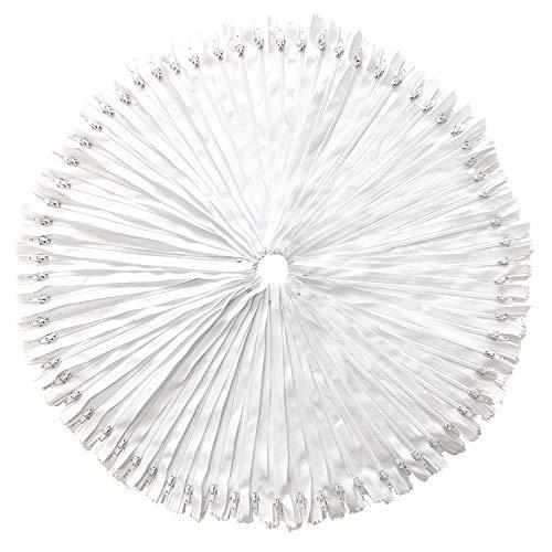 DOITEM 100 Pcs 23 cm / 9 Pouces Multicolore Nylon Bobine Tirettes pour La Couture et l'artisanat, Blanc