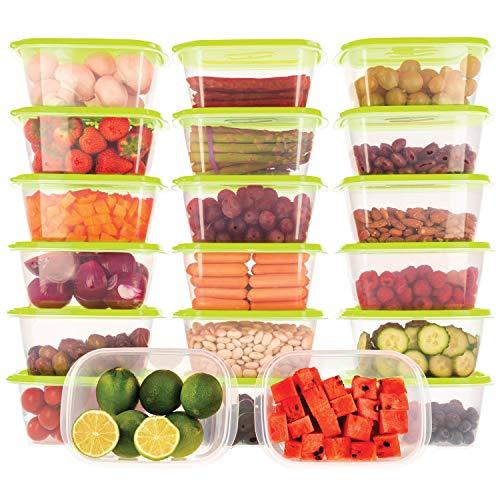 Oursson Frischhaltedosen Set aus BPA-freiem Plastik, Vorratsdosen-Sets, mit grünen Deckeln, Lunchbox, CP22083-1S/GA (20x1 L, Grün)