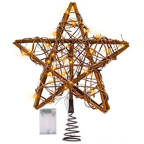 Rattan Christmas Tree Topper with Lights, Pre-lit Christmas Star Treetop Decorations, Lighted Rustic Tree Topper, Farmhouse Tree Topper Decor for Xmas/Holiday/Party/Indoor, Battery Operated, 10 Inch