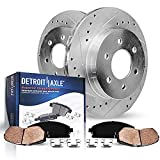 Detroit Axle - 6 Lug Front Drilled Slotted Brake Rotors with Ceramic Brake Pads Replacement for Chevy GMC Silverado Sierra Suburban 1500 Tahoe Yukon Cadillac Escalade - 4pc Set