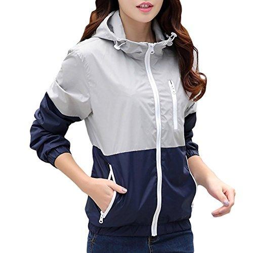Miouke 女式轻便风衣户外连帽运动外套速干夹克情人外套,灰色,美码 XS(标签尺码 M)