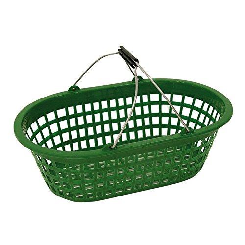 Tuinmand boodschappenmand wasmand groen tot 15 kg ovaal stalen beugel kunststof
