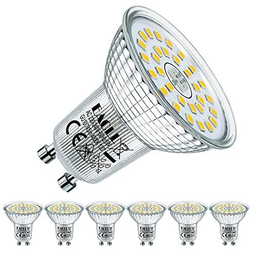 EACLL Bombillas LED GU10 4000K 6W Blanco Neutro Fuente de Luz 745 Lúmenes Equivalente 60W Halógena. AC 230V Sin Parpadeo Focos, 120 ° Spotlight, Blanca Neutra natural Lámpara Reflectoras, 6 Pack