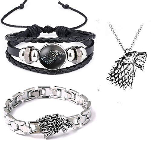Juego de 3 brazaletes hechos a mano con diseño de lobo de The Game of Thrones House Stark Wolf con...