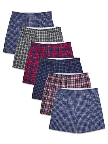 Fruit of the Loom Men's Tag-Free Boxer Shorts (Knit & Woven), Woven-6 Pack-Assorted Colors, Medium