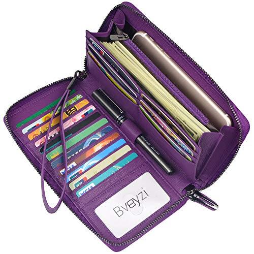 Women RFID Blocking Wallet Leather Zip Around Phone Clutch Large Travel Purse Wristlet (Purple)