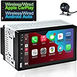 COGAMICHI Double Din Car Radio Wireless/Wired CarPlay & Android Auto 7'' Touchscreen in-Dash Head Unit Bluetooth AM/FM Mirror Link Car Multimedia MP5 Player 2 Din Car Stereo Receiver+Backup Camera