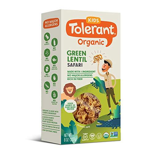 Tolerant Organic Kids Green Lentil Safari Pasta, 8 Ounce Box (Case of 6), Single Ingredient Plant-Based Protein Pasta, Vegan Pasta, Gluten Free Pasta, School Safe, Low Glycemic Index Pasta