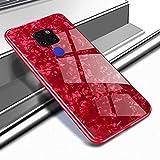 Yobby Glas Hülle für Huawei Mate 20 Lite, Huawei Mate 20 Lite Rot Handyhülle Kristall Funkeln Glitzer Muster Schlank Weich TPU Bumper Schutzhülle Reflektierend Glänzend Spiegel Rückseite