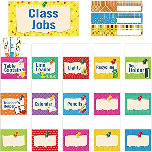 75 Pieces Class Jobs Bulletin Board Colorful Class Jobs Pocket Chart Set Teacher s Helper Chalkboard Decor Classroom Bulletin Board Decoration for Back to School