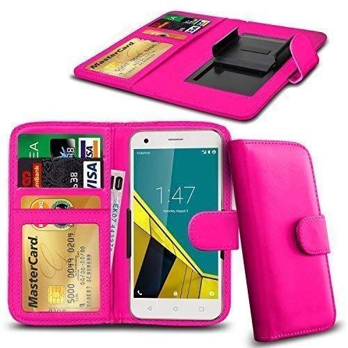 N4U Online® Vodafone Smart Prime 7 PU Leder Brieftasche mit Kreditkarte, Noten & Id Schlitze - Rosa