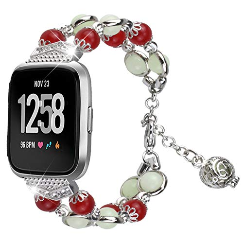 XIALEY Banda De Repuesto para Mujer Compatible con Fitbit Versa 3 / Sense, Pulseras De Metal Correa De Reloj Luminosa Pulsera De Joyería Compatible con Versa 3 / Sense,Silver 1