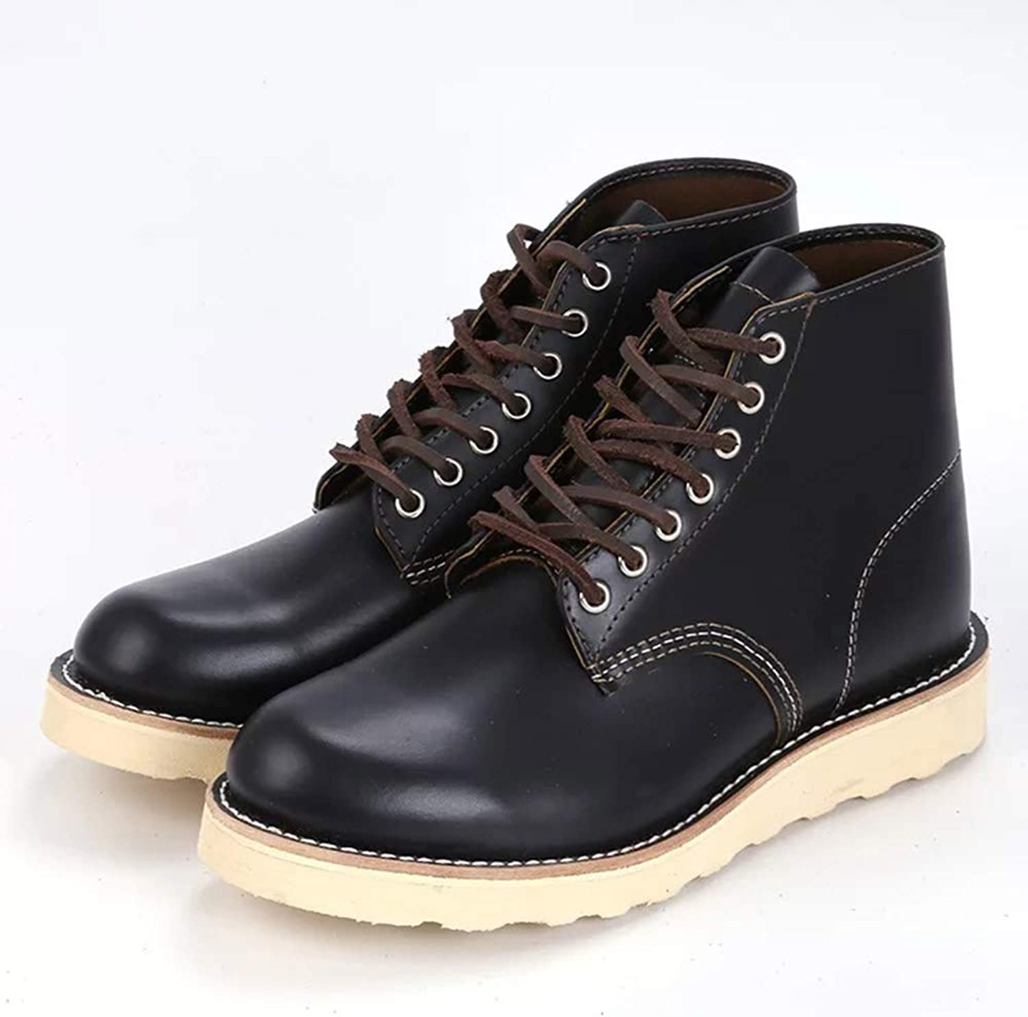 RTX Men's Leather Safety shoes Europen Boot Fashion High Top Black,40