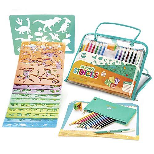 Creabow Crafts Kit stencil bambini e matite colorate – Colori per bambini e kit disegno con stencil lettere e numeri – Kit viaggio giochi creativi per bimbi - Loved By Parents Platinum Award 2018