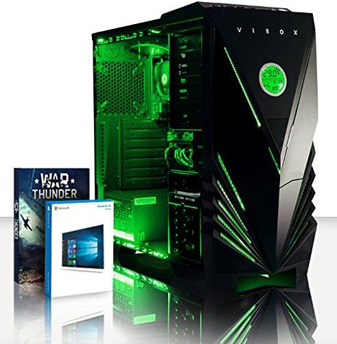 VIBOX Standard 3A - Ordenador para Gaming (AMD A8-7600, 8 GB de RAM, 1 TB de Disco Duro, AMD Radeon R7, Windows 10) Color neón Verde