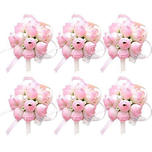 6 Piezas Ramillete de Flores, Chica Dama de Honor de la Boda de la muñeca Corsage Fiesta de la Mano de Flores Pulsera Fiesta de la Boda decoración - Rosado
