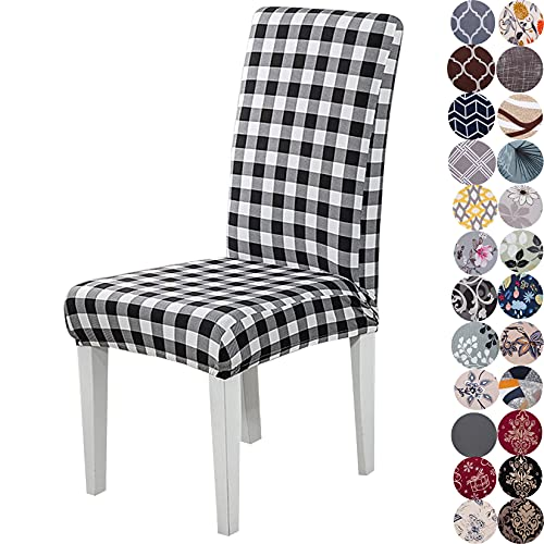 Lalluxy Stretchy Parson Chair Slipcovers for Dining Room Chair seat Covers Chair Protectors for Party Pet Protection Universal Fit Soft Polyester (Set of 4, Buffalo Check)