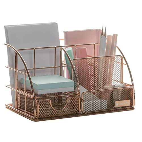 Rose Gold Desk Organizer for Women, All in One Desktop Organizer with Pen Holder, Pencil Holder, Paper Organizer and Desk Drawer Organizer, Office Organizer for Office Supplies and Desk Accessories.