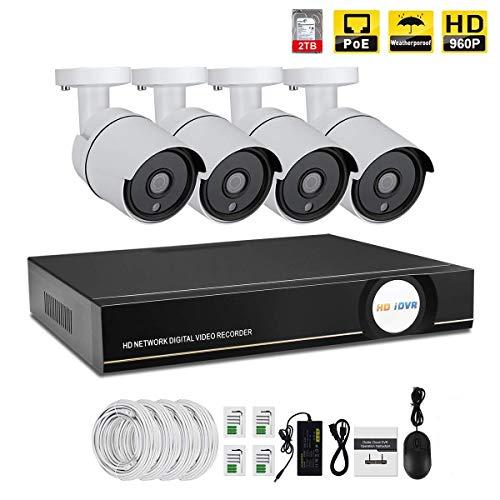 IMATEK Kit di video sorveglianza 960P PoE,telecamera Day/Night Bullet IR 4pcs, collegato con registratore NVR in H.264(disco rigido da 2 TB incluso preinstallato)