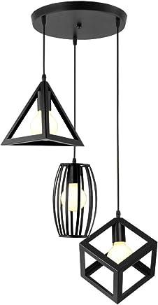 IDEGU 3 Lampes Suspensions Luminaire Design Géométrique Moderne E27 Lustre  Suspensions Abat Jour En Métal Plafonnier