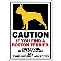 CAUTION IF YOU FIND マグネットサイン:ボストンテリア(スモール)ホワイト 注意 DON'T TOUCH 触れない/触らない KEEP GATE CLOSED ドアを閉める 英語 防犯 アメリカンマグネットステッカー