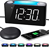 "Extra Loud Alarm Clock with Bed Shaker, Vibrating Alarm Clock for Hearing Impaired, Heavy Sleepers, Deaf Alarm Clock with 6.5""Large Display, 7 Night Light, Dimmer, Dual USB Chargers for Seniors, Teens"