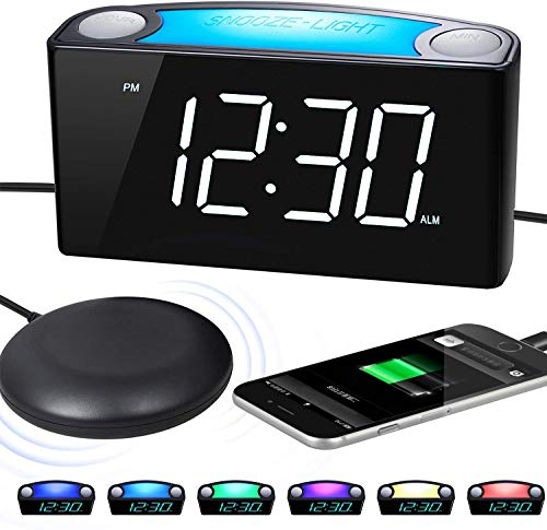 """Extra Loud Alarm Clock with Bed Shaker, Vibrating Alarm Clock for Hearing Impaired, Heavy Sleepers, Deaf Alarm Clock with 6.5""""Large Display, 7 Night Light, Dimmer, Dual USB Chargers for Seniors, Teens"""