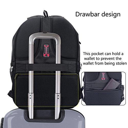 XY Life Laptop Notebook Rucksack Daypack Schulrucksack Backpack Multifunktion, Mit USB Ladeanschluss, für Herren Männer Schul, 17 Zoll, Schwarz