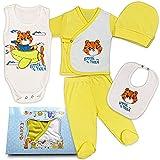 QAR7.3 Erstausstattung für Neugeborene - 5er Pack - 100% Baumwolle - Babykleidung Jungen - Body, Schlafanzug, Hose, Lätzchen und Mütze (Gelb, 0-3 Monate)