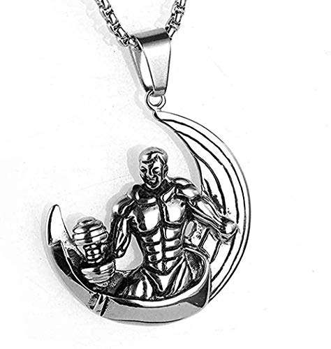 N-G Necklace Steel Necklace Jewelry Men s Dumbbell Necklace Titanium Steel Bodybuilding Crescent Pendant Necklace White-White Gift
