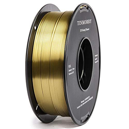 PLA Filament 1.75mm 1kg, TINMORRY PLA Filament 3D Printing Materials for 3D Printer, 1 Spool, Silk Bronze