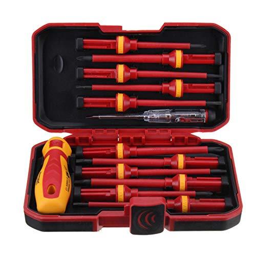 Voltaje 1000 V 13 piezas Destornillador con aislamiento electrónico profesional Juego de destornilladores de ranura alta Juego de accesorios de herramientas de mano duraderas