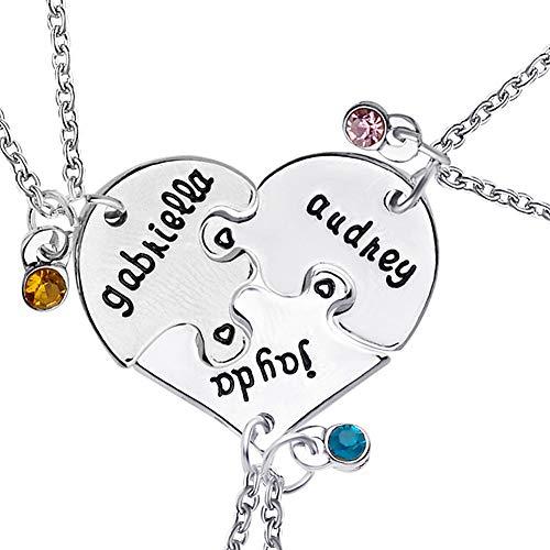 WPCASE Collar de la Amistad para 3 Collar para Novia Esposa Collar Lindo Collar de Collar romántico Brillante Collar Collar Barato Collar de la joyería