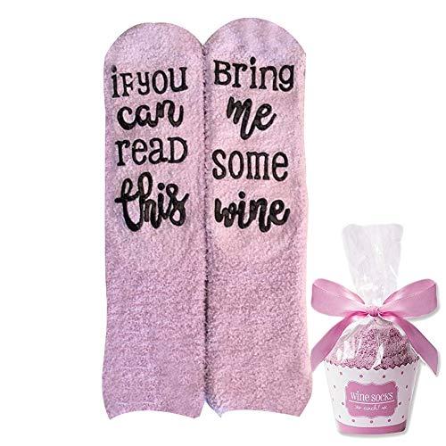"""sdgfd Wein Socken, If You can Read This Bring me Some Wine"""", Geburtstags-Geschenke für Frauen,Freundin,Kollegen,Mama,Schwester - Wein, Schokolade, Kaffee"""