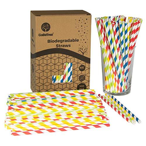 GoBeTree 300 Pajitas de Papel biodegradables con Colores Variados, Pajita Desechables ecológicas compostables. Cañitas para Fiestas, cumpleaños y Celebraciones. Bebidas frías y Calientes. 🔥