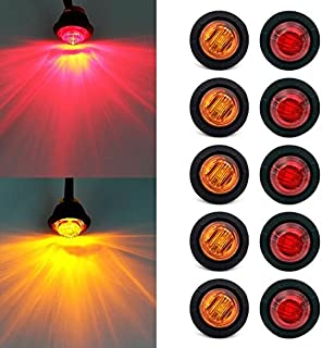 Mengbaobao MBB 10 x 3/4 Inch Round LED Light Front Rear Side Marker Light for Truck Car Bus Trailer Van Caravan Boat, Taillight Brake Stop Lamp 12V (5 Amber+5 Red)