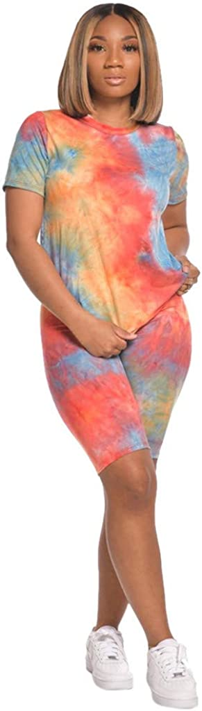 Outfits for Women 2 Piece Sets Shorts 2020 Tie Dye Short Sleeve Shirts Casual Loungewear Outfits Biker Activewear