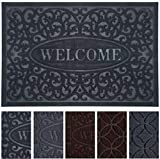 "Outdoor Entrance Door Mats for Front and Back Door, Non-Slip Welcome Doormat for Indoor Outdoor, Waterproof, Easy Clean, Low-Profile Mats for Entry, Garage, Patio (17""x 29"", Black Welcome)"