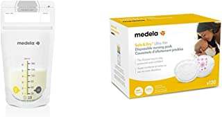 Medela Breast Milk Storage Bags 100 Count and Disposable Nursing Pads 120 Count, Breast Pump Accessories to Help Moms Begin and Continue Breastfeeding