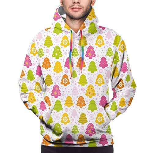 Kssnjs Men's Hoodies Sweatshirts,Lively Christmas Trees with Different Patterns Snowflakes Polka Dots Stars Chevron,Medium