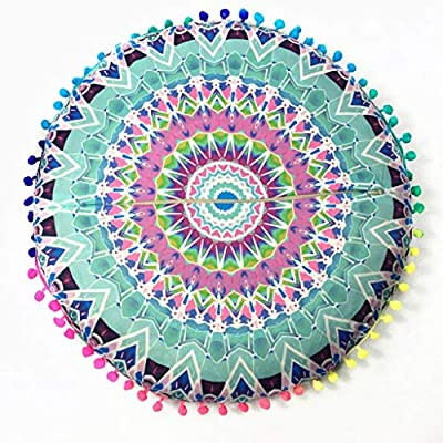 Indian Mandala Floor Pillows Round Bohemian Cushion Cushions Pillows Cover Case Meditation Ottoman Pouf Cover Comfortable Home Car Bed Sofa (Green)