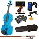 ?Mendini By Cecilio Violin For Kids & Adults -4/4 MVMetallic BlueViolins, Student or Beginners Kit w/Case, Bow, Extra Strings, Tuner, Lesson Book - Stringed Musical Instruments