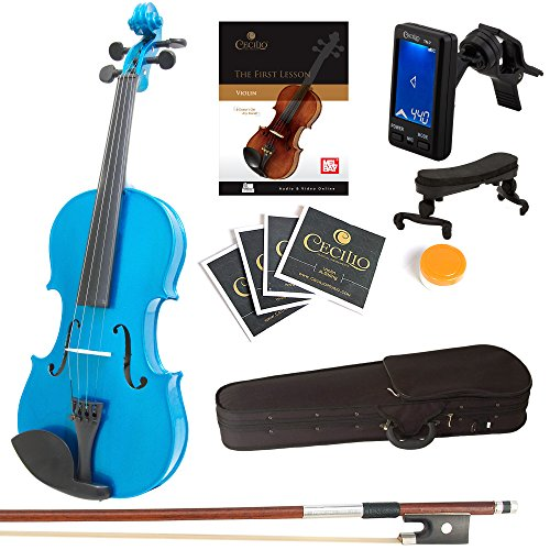 Mendini By Cecilio Violin For Kids & Adults -4/4 MVMetallic BlueViolins, Student or Beginners Kit w/Case, Bow, Extra Strings, Tuner, Lesson Book - Stringed Musical Instruments