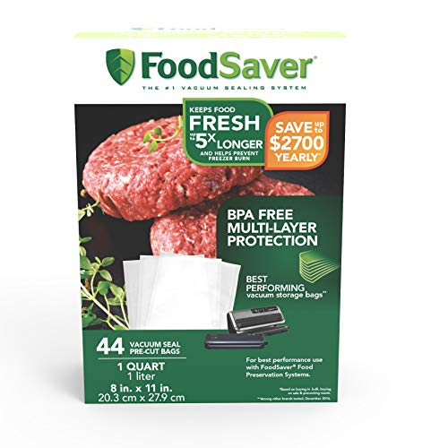 Lowest Prices! FoodSaver 1-Quart Precut Vacuum Seal Bags with BPA-Free Multilayer Construction for F...