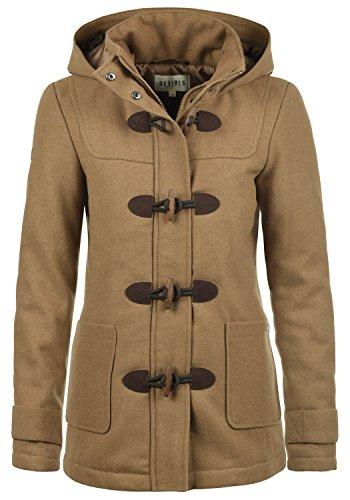 DESIRES Penna Damen Winter Jacke Parka Mantel Dufflecoat mit Stehkragen und Kapuze, Größe:XL, Farbe:Sepia (5075)