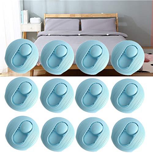 12 Stück Verbesserte Nadelfreie Steppdeckenhalter-Bettbezugclips, rutschfeste Trösterbefestigungen Sicherheitsschnallenblatt Deckenklemme Haushaltswaren Blau