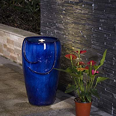 "Glitzhome Blue Ceramic Outdoor Water Fountain with LED Light and Submersible Pump 20.5""H Decorative Water Fountain for Garden Patio Deck Porch Yard Art Decor"