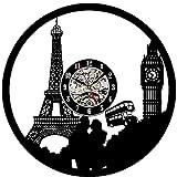 Reloj de Pared de Vinilo Pareja Torre Eiffel Record Clock Vintage Registro de Vinilo Regalo Hecho a Mano hogar Decoración 7 Colores luz Nocturna 30x30cm- con LED