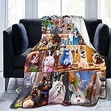 JANEZHI Secret Life of Pets Big Collection of Pets Throw Blanket, Fleece Lightweight Cozy Bed Blanket Soft Throw Blanket Suitable for All Season,(Small-50x40 in)