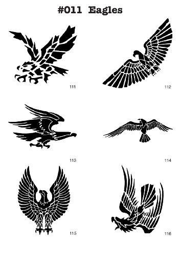UNLIMITED STENCILS 6 Airbrush-Schablonen MYLAR #011 Adler